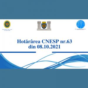 Hotărârea CNESP nr. 63 din 8 octombrie 2021